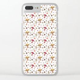 Autumn mushroom pattern Clear iPhone Case