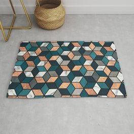 Copper, Marble and Concrete Cubes with Blue Rug