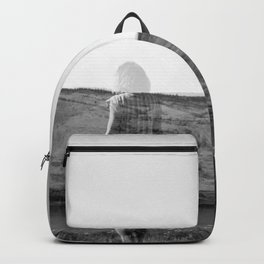 Ghost Girl on the Cliff's Edge - Black and White Film Double Exposure Backpack