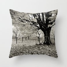 Wind and Leaves - B&W Throw Pillow