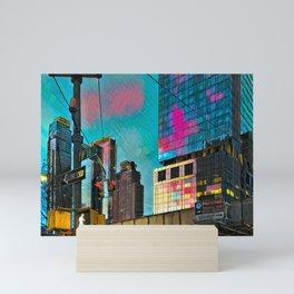 NYC Skyline at Sunset Mini Art Print