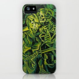 A Skeleton Embracing A Zombie Halloween Horror iPhone Case