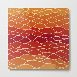 Orange and Red Waves Metal Print