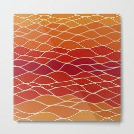Orange and Red Waves Metal Print