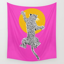 Big Cat Plays Ball with the Sun | Pink Wall Tapestry