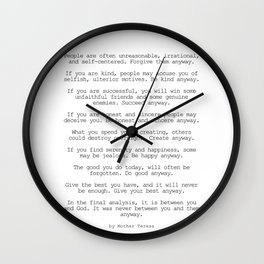 Do It Anyway by Mother Teresa #minimalism #inspirational Wall Clock