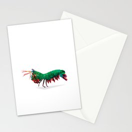 Geometric Abstract Peacock Mantis Shrimp  Stationery Cards