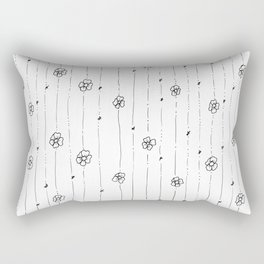 Delicate Flowers Doodle Pattern Rectangular Pillow