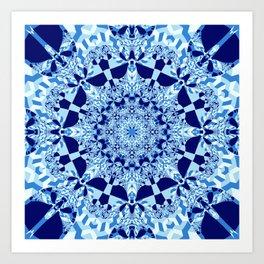 Blue toned cubism in a kaleidoscope Art Print