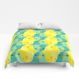 Blue Yellow Birds Comforters