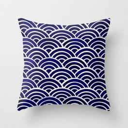 Japanese Seigaiha Wave – Navy Palette Throw Pillow