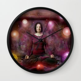 Woman in Meditation Wall Clock