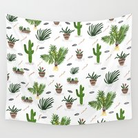 plants Wall Tapestries featuring PLANTS ARE MY FRIENDS by Kris Tate
