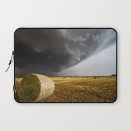 Spinning Gold - Storm Over Hay Bales in Kansas Field Laptop Sleeve
