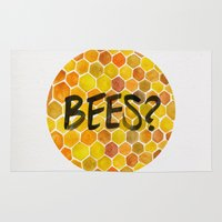 bees Area & Throw Rugs featuring BEES? by Cat Coquillette