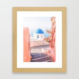 Santorini Greece Mamma Mia pink travel photography in hd. Framed Art Print
