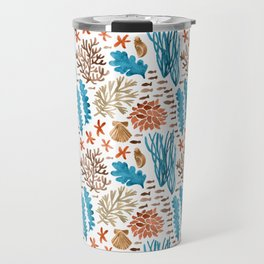 Coral Reef Watercolor Pattern- Teal Travel Mug