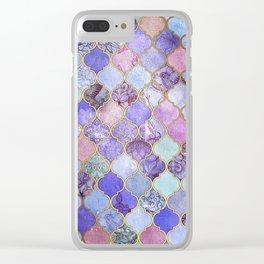 Royal Purple, Mauve & Indigo Decorative Moroccan Tile Pattern Clear iPhone Case
