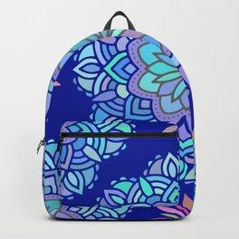 Heart mandala Pattern on Dark Blue Background Backpack