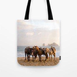 Horses on the beach Tote Bag