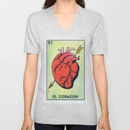 Vintage El Corazon Tarot Card Heart Love Artwork, Design For Prints, Posters, Bags, Tshirts, Men, Wo Unisex V-Neck