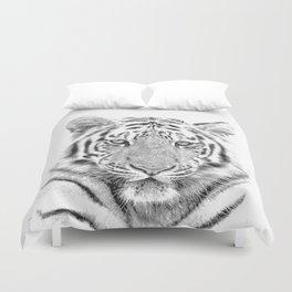 Black and white tiger Duvet Cover