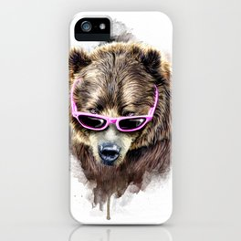Cool shy bear iPhone Case