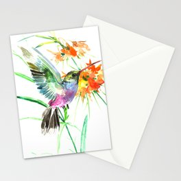 Hummignbird and Flowers Stationery Cards