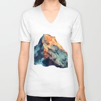 low poly V-neck T-shirts featuring Mountain low poly by Li9z
