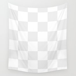 Large Checkered - White and Pale Gray Wall Tapestry