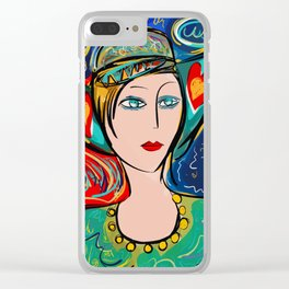 Pop Girl Art Deco with Hat and hearts Clear iPhone Case