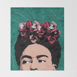 Frida Kahlo Floral Portrait Throw Blanket