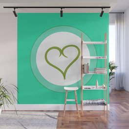 Green Heart with Love Wall Mural