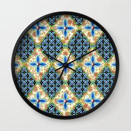 Elizabethan Folkloric Blossoms Wall Clock