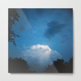 Early Evening Moon in a Late Summer Sky - Holga Film Photograph Metal Print