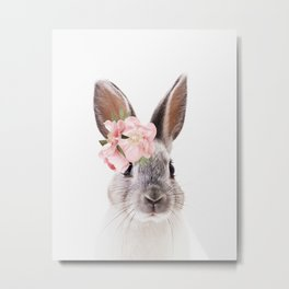 Rabbit with flowers, Nursery art, Kids room, Animal Metal Print