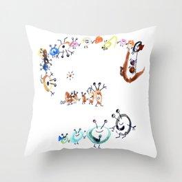 Playful Viruses (drawn by my 2yo son) Throw Pillow