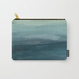 Seafoam Green Mint Navy Blue Abstract Ocean Art Painting Carry-All Pouch