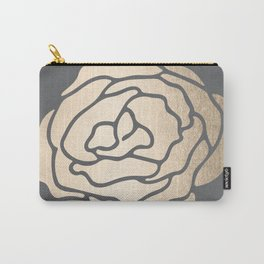 Rose in White Gold Sands on Storm Gray Carry-All Pouch