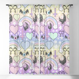 Pastel Goth Collage Sheer Curtain