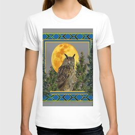 WILDERNESS OWL WITH FULL MOON PINE TREES T-shirt