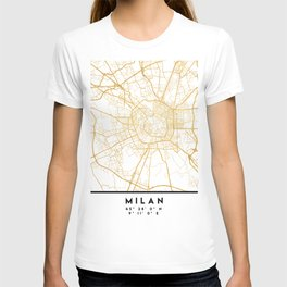 MILAN ITALY CITY STREET MAP ART T-shirt