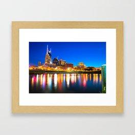 Blue Hour over the Nashville Skyline Framed Art Print