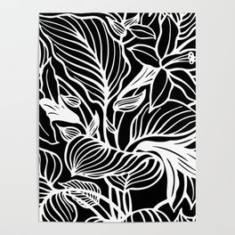 Black White Floral Minimalist Poster