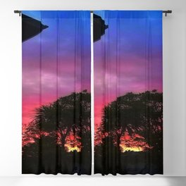 Vibrant Sunset in Auckland New Zealand Blackout Curtain
