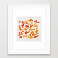 goldfish Framed Art Prints featuring Goldfish by Cat Coquillette
