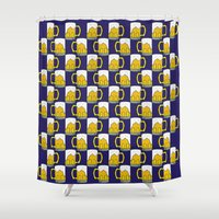 beer Shower Curtains featuring beer by Jaeyun Woo