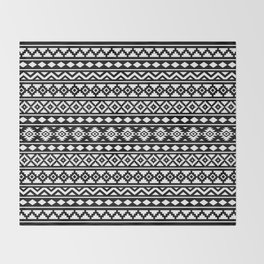 Aztec Essence Pattern II White on Black Throw Blanket
