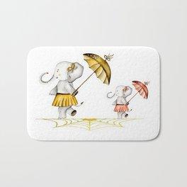Cheerfull Elphants Bath Mat
