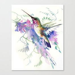 Hummingbird and Soft Purple Flowers Canvas Print
